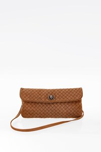 Bottega Veneta Brown Intrecciato Woven Nappa Leather Mini Flap Crossbody Bag