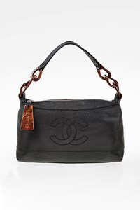 Chanel Black Leather CC Shoulder Bag with Tortoise Shell Details