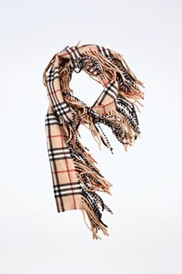Burberry London Check Printed Wool Scarf with Long Fringes