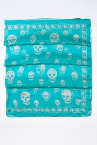 MCQ Light Blue Silk Skull Scarf