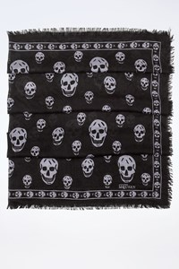 MCQ Black Wool Lightweight Skull Scarf