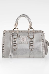 Gianni Versace Silver Studded Leather Tote Bag