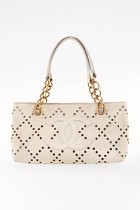 Chanel Ecru Patent Leather Perforated Logo Tote Bag