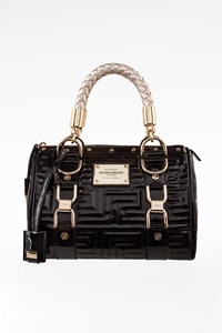 "Gianni Versace Black Patent Leather ""Snap Out of It"" Tote Bag"