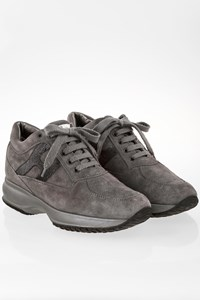 Hogan Grey Suede Interactive Sneakers with Sequins / Size: 39 - Fit: 40