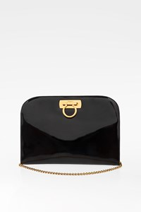 Salvatore Ferragamo Black Patent Leather Shoulder Bag with Chain