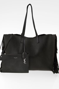 Saint Laurent Black Large Fringe Leather Tote Bag