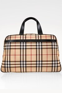 Burberry Beige Check Printed Large Handbag