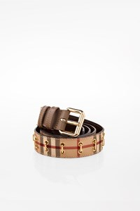 Burberry Haymarket Check Canvas Belt with Metallic Decoration