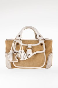 Céline Natural Raffia and White Leather Boogie Tote Bag