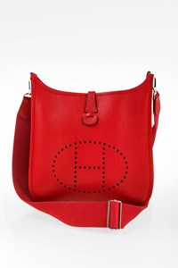 Hermès Rouge Casaque Evelyne III GM Clemence Leather Crossbody Bag