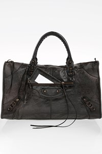 Balenciaga Black Work Lambskin Leather Bag