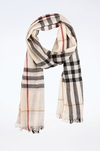 Burberry Ecru Check Printed Wool-Cashmere Scarf
