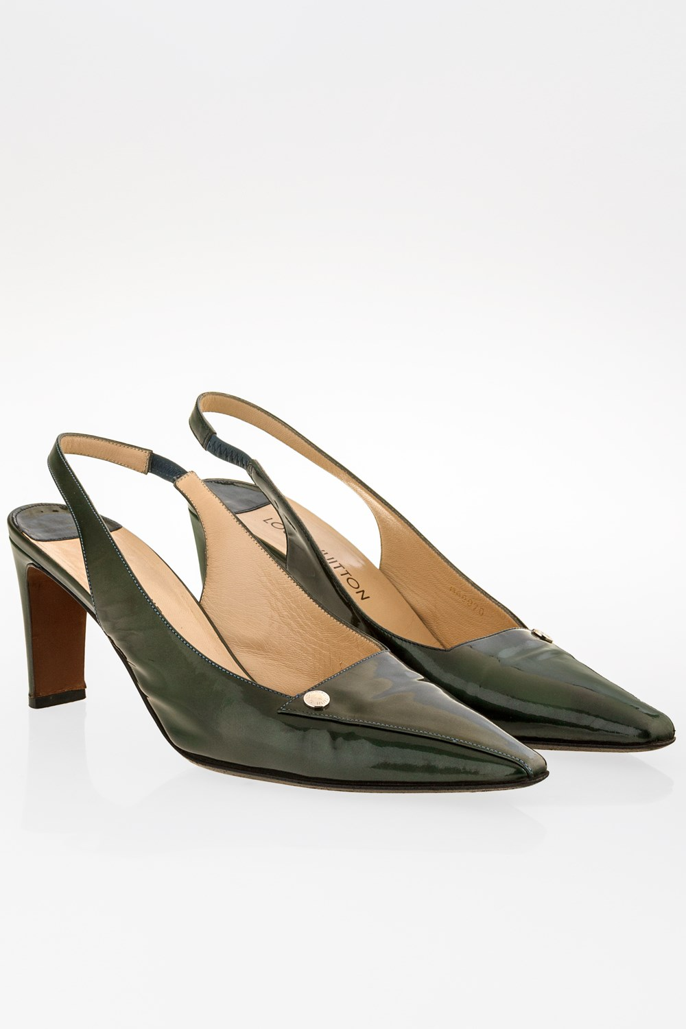 Forest Green Patent Leather Slingbacks   Size  40 - Fit  39 ...