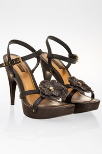 Louis Vuitton Black Leather Wooden Heel Sandals / Size: 36 - Fit: 37