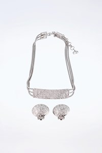 Dior Silver Set with Clip Earrings and Necklace with Logo