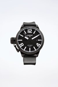 U-Boat Black IFO Left Hook Watch with one Rubber and one Leather Strap