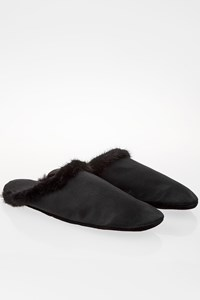 Prada Black Satin Slippers with Travel Pouch / Size: 37 - Fit: True to size
