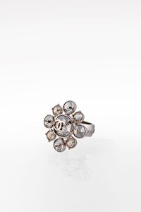 Chanel Silver-tone CC Ring with Crystals