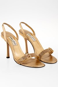 Jimmy Choo Gold Leather Slingback Sandals with Crystals / Size: 38 - Fit: 38.5