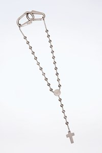 D&G Etched Cross Silver Tone Necklace