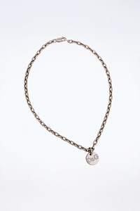 D&G Silver Tone and Crystals Logo Necklace