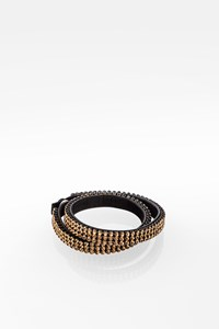 Swarovski Leather Bracelet-Choker with Gold Swarovski Crystals