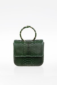 Roberto Cavalli Green Python Wristlet Mini Bag