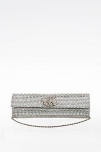 Rodo Crystal and Silver Leather Clutch with Shoulder Chain