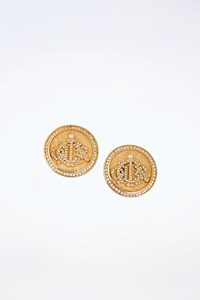 Dior Vintage Gold Plated Round Clip Earrings with Crystals