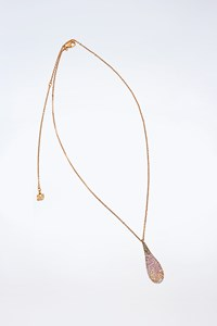 Swarovski Teardrop Crystal Pendant with Rose Gold-Plated Chain