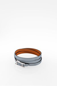 Hermès Light Blue Hapi 3 Leather Bracelet