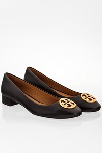 Tory Burch Black Leather Chelsea Heeled Ballet Flats / Size: 7.5 M (37.5) - Fit: 38