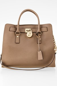 MICHAEL Michael Kors Hamilton Taupe Saffiano Large Leather Tote Bag