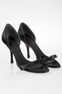 Giuseppe Zanotti Black Satin and Patent Leather Sandals / Size: 36 - Fit: 36.5