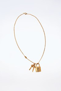 Juicy Couture Gold Tone Necklace with Padlock and Keys