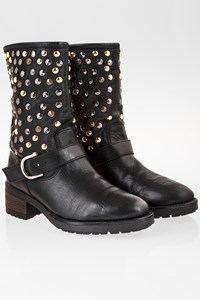 Feng Shoe Black Leather Boots with Studs / Size: ? - Fit: 38.5