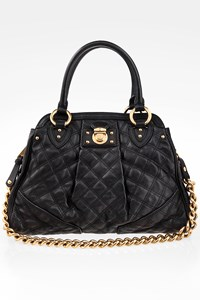 Marc Jacobs Black Quilted Leather Alyona Tote Bag