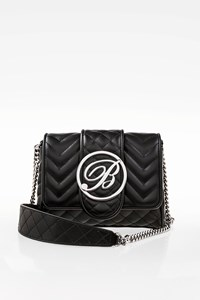 Blumarine Black Quilted Mini Shoulder Bag with Chain