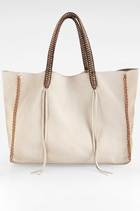 CALLISTA CRAFTS Ivory Leather Tote Bag with Weaved Handles