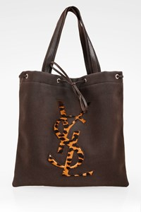Yves Saint Laurent Brown Kahala Canvas Tote Bag