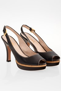 Prada Black Perforated Peep-Toe Sandals / Size: 36 - Fit: 36.5