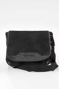 Pirelli  Black Canvas and Leather Crossbody Bag