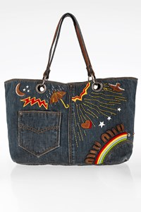 Miu Miu Blue Denim Double-Sided Shopper Bag
