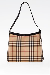 Burberry Check Canvas and Black Leather Shoulder Bag