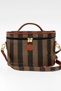 Fendi Pequin Stripe Boston Coated Canvas Cosmetic Travel Bag