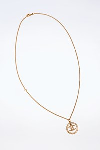 Chanel Gold-Plated CC Necklace with Crystals