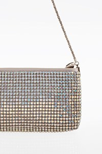 Escada Silver Satin Clutch with Iridescent Crystals