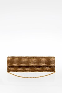 Rodo Swarovski Crystal and Bronze Leather Clutch
