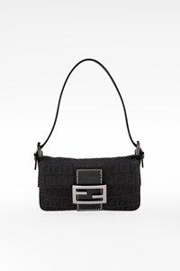 Fendi Black Zucca Canvas Mini Baguette Bag